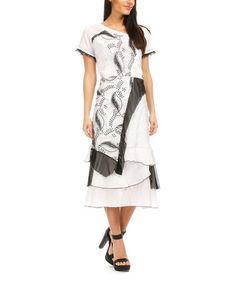Look what I found on #zulily! White & Black Leaf Ruffle Asymmetrical Dress - Women & Plus #zulilyfinds