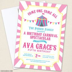 Pink Carnival or Circus Party Invitations (($))