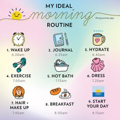 Start your morning with positive vibes with the Journey app, your daily Self-Care Journal. Morning Routine Checklist, Healthy Morning Routine, Routine Planner, Night Routine, Morning Routines, Daily Routine Schedule, Healthy Routines, Self Care Bullet Journal, Vie Motivation