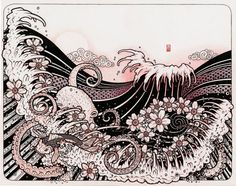 Waves 02 Japanese Tattoo Style Drawing Waves Octopus by bluefuze