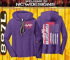 Firefighter Wife Hooded Shirt Maltese Cross Flag Shirt Firefighter Shirts Firefighter Gifts Fireman Wife TShirt Fire Girlfriend by NCWDesigns. Explore more products on http://NCWDesigns.etsy.com
