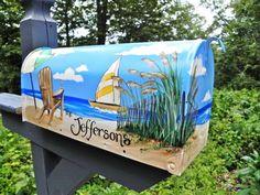 Hand Painted Mailbox  NANTUCKET BEACH  Umbrella, Sailboat, Adirondack Chair      Free House Number - Designer  Mailbox - Original design - LoveItSoMuch.com Rustic Mailboxes, Painted Mailboxes, Wall Mount Mailbox, Mounted Mailbox, Nantucket Beach, Mailbox Covers, Beach Umbrella, Decoupage, Beach Themes