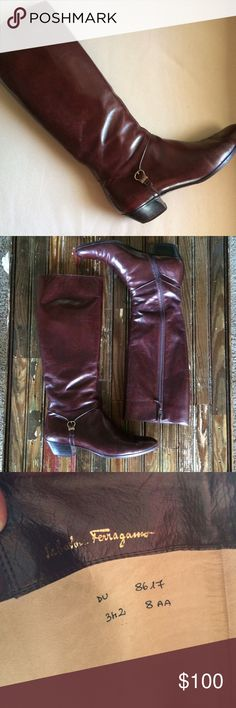 Authentic Salvatore Ferragamo Boots Beautiful reddish brown color in excellent used condition! Made in Italy. Size 8AA. Minimal wear on leather, but again in wonderful condition! Salvatore Ferragamo Shoes Heeled Boots