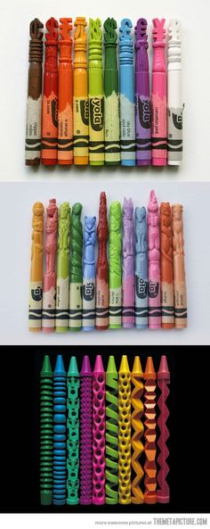funny crayon carving art on imgfave Fun Crafts, Arts And Crafts, The Meta Picture, Crayon Art, Wow Art, Psychedelic Art, Belle Photo, Amazing Art, Awesome