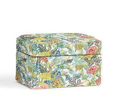 Cameron Slipcovered Storage Ottoman, Polyester Wrapped Cushions, Lyla Floral Multi