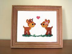 Sweethearts deer cross stitch pattern