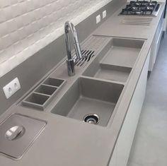 Kitchen Sink Design, Luxury Kitchen Design, Kitchen Layout, Home Decor Kitchen, Interior Design Kitchen, Home Kitchens, Küchen Design, House Design, Cuisines Design