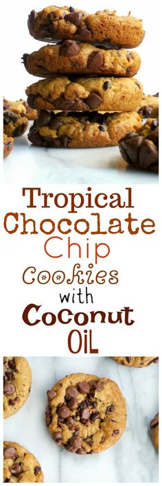 Crisp on the outside, soft on the inside, these Tropical Chocolate Chip Cookies with Coconut Oil might have you thinking you've been swept away to an island paradise from NoblePig.com. via @cmpollak1