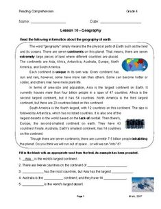 """This lesson is adjusted for fourth grade reading level. Students will be introduced to the various continents on earth. It is an informative article, and students are encouraged to take note of factual information by highlighting or circling. This will enhance """"active reading"""" strategies."""