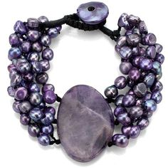 DaVonna Purple Pearl and Oval Amethyst Double-knotted Bracelet ($30) ❤ liked on Polyvore featuring jewelry, bracelets, pearls, knot bracelet, purple amethyst jewelry, colorful bangles, amethyst bracelet and button bracelet