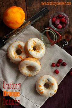 Cranberry Orange Donuts - www.countrycleaver.com and win a copy of The Novice Chef's new 100  Mini Donut Cookbook!