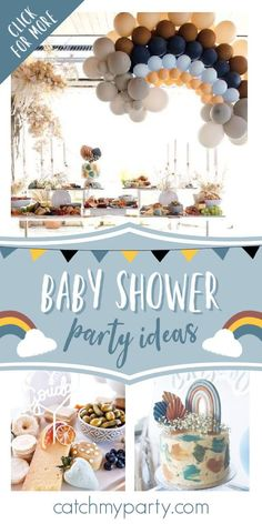 Take a look at this magical boho rainbow baby shower! The balloon decorations are fabulous! See more party ideas and share yours at CatchMyParty.com#catchmyparty #partyideas #rainbowbabyshower #rainbowparty #bohoparty #babyshower