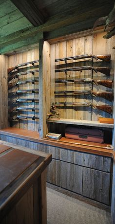 A design and build shop in Arkansas crafting the finest Trophy Rooms, Gun Libraries, Kitchens, Architectural Mill-work, and more throughout the world. Hidden Gun Storage, Weapon Storage, Rifles, Gun Safe Room, Gun Closet, Rifle Rack, Reloading Room, Gun Vault, Gun Rooms