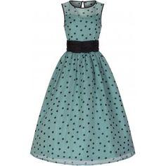 Cindy  Popularly Pretty Polka Dot Print Vintage 50 s Party Dress  4a2296fdf84