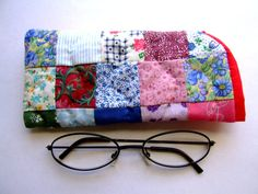 Patchwork quilt eyeglass case handmade by IntricateHandiwork, $6.99 Perfect for any age, great valentine's gift! Made with new, leftover materials from other crafts.