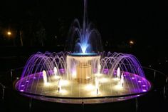 Ciechocinek, Poland Water Fountain Design, Water Fountains, Fountain Lights, Waterfall Fountain, Water Lighting, Mansions, Outdoor Decor, Beautiful, Home Decor