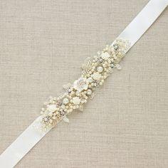 Bridal belt sash wedding Narrow sash belt Shabby chic by LeFlowers