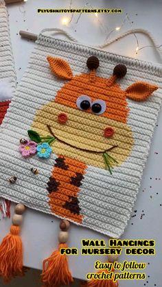 Crochet Patterns Amigurumi, Crochet Motif, Crochet Baby, Crochet Wall Art, Crochet Wall Hangings, Nursery Design, Nursery Decor, Crochet Carpet, Crochet Projects