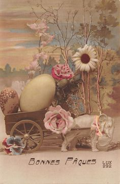 Fantasy Easter~Elephant Pulls Easter Egg Cart~Colorized RPPC~LUX 292~French