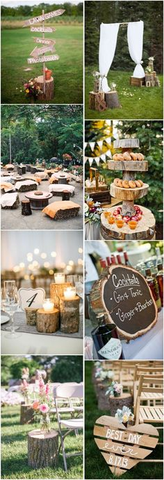 J'aime l'idée de la tranche de bûche, changée en tableau noir...50 Tree Stumps Wedding Ideas for Rustic Country Weddings | http://www.deerpearlflowers.com/tree-stumps-wedding-ideas-for-rustic-country-weddings/