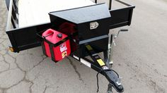 Echo Trailers extra large tongue box and five gallon gas can rack. Compatible with all Echo Advantage & Ultimate ATV-UTV Trailers. Lawn Trailer, Work Trailer, Kayak Trailer, Trailer Plans, Trailer Build, Utility Trailer, Toy Hauler Trailers, Flatbed Trailer, Cargo Trailers