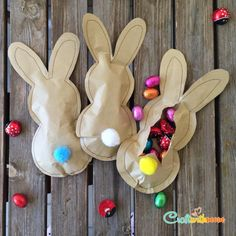 25 Fresh Paper Crafts for Spring: Paper Easter Bunnies With a Candy Surprise