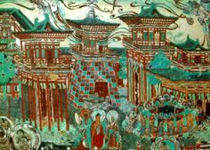 A mural in Dunhuang Grottoes, illustrating Chinese architecture, Tang Dynasty (618 - 907)