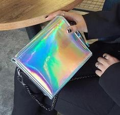 Look at more ideas about Talk wildly clothes, Raver bones and Fest clothes. Festival Body Jewellery, Holographic Bag, Hologram, Rave Ready, Glitter Outfit, Edm Girls, Electric Daisy Carnival, Rave Outfits, Electronic Music