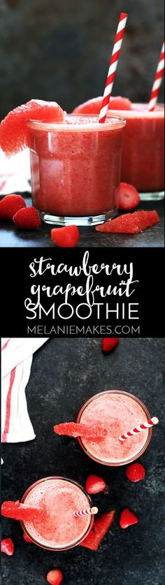Smoothie Recipes This four ingredient Strawberry Grapefruit Smoothie couldn't be easier! A ruby red grapefruit, strawberries, banana and orange juice are blended together in just seconds to create the perfect easy breakfast or snack. Grapefruit Smoothie, Smoothie Bol, Smoothie Fruit, Smoothie Detox, Smoothie Drinks, Easy Smoothie Recipes, Yummy Smoothies, Breakfast Smoothies, Yummy Drinks