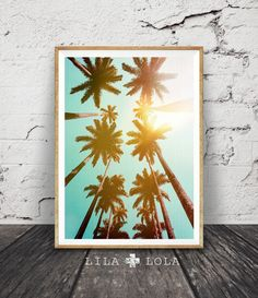Palm Trees Print, Tropical Wall Art Decor, Large Printable Poster, Colour Photography, Digital Download, Aqua Blue and Yellow Photo by LILAxLOLA on Etsy https://www.etsy.com/listing/458566778/palm-trees-print-tropical-wall-art-decor