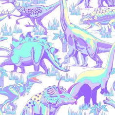 Pastel Dinosaurs. fabric by art_on_fabric on Spoonflower - custom fabric