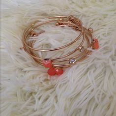 Coral bracelet bangle 5 bracelet bangle, coral/gold. Price firm unless bundle. Jewelry Bracelets