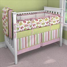 Girl Owl Custom 4-piece Crib Bedding Set | Girl Owl Nursery Idea | Carousel Designs