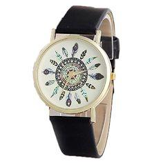 Ularmo Feder Muster Bild Zifferblatt Lederarmband Einzigartige Uhr - http://uhr.haus/ularmo/ularmo-feder-muster-bild-zifferblatt-uhr