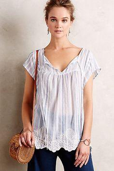 Pinstriped Peasant Tunic #anthropologie (Would be so cute with jeans & sandals). ❤️