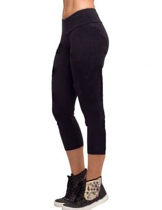 Women YOGA Tights Running Capri Pants High Waist Cropped Leggings Fitness (M, black)