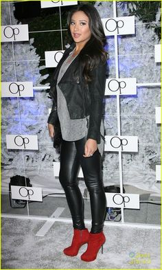 leather leggings, red booties, and a moto jacket with a loose tee SHAY always so itttt