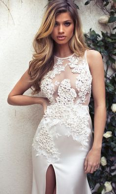 The breathtaking Lurelly Bridal collection includes sexy, form-fitting silhouettes and romantic, flowy wedding dresses — and we're obsessed! Belle Wedding Dresses, Bridal Dresses, Wedding Gowns, Prom Dresses, Lurelly Bridal, Dressing, Floral Gown, Mod Wedding, Wedding Ideas