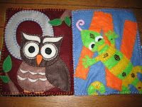 Felt Alphabet Quiet Book Page - Owl and Newt