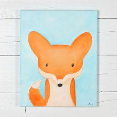 Fox- Woodland -Original acrylic painting on canvas - fox, vixen, forest animals, nursery wall decoration, wall decor, cute baby animal