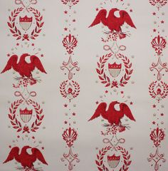 1970's Vintage Wallpaper Americana Red Eagles by RosiesWallpaper; this is similar to the wallpaper we had in the 70's- coupled with faux wood paneling.