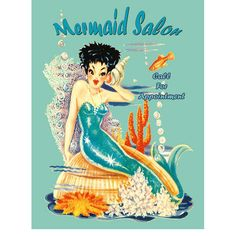 Vintage Mermaid Salon Metal Sign adds unique decor to your home or business. Every Mermaid Ad collector would love this unusual gift. All Mermaid Salon Tin Signs are pre-drilled and ready to hang.