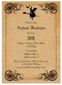 Vintage Witch Halloween Party Invitation Themes Invitations Birthday