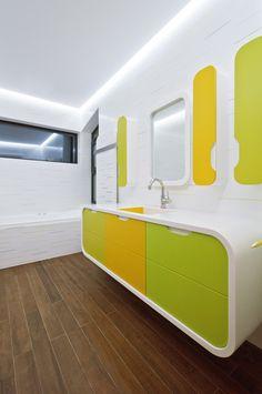 HI-MACS® brings a splash of colour to the bathroom Towel Warmer, Corian, Solid Surface, Bathroom Inspiration, Color Splash, Kids Room, Bathtub, Mirror, Furniture