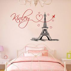 Girl Name Wall Decal Eiffel Tower Vinyl Stickers Mural Paris Silhouette Personalized Baby Girl Name Decor Bedroom Nursery Girls Room ZX296