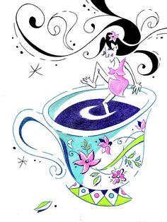 I Love Coffee - Art Book Illustration Drawing by Arte Venezia