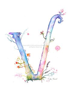 Letter V Watercolor Monogram Flower by MilkandHoneybread on Etsy