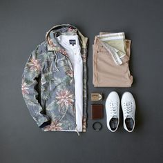 Men's Spring/Summer Fashion, the perfect statement jacket, henley, chinos & sneakers #mensstyle #sneakers #summerstyle