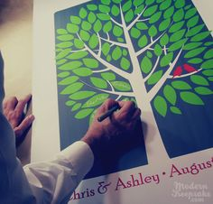 Love this idea for a guestbook. Each person signs their name on a leaf and then you can have it framed and display it after the wedding