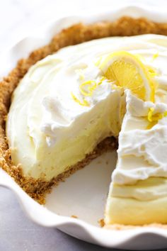 Lemon Cream Pie – Chef in Training This Lemon Cream Pie has the perfect hint of lemon for a light refreshing taste that is balanced by a creamy silky base. It has a vanilla wafer crust that is a delightful compliment. This pie is adored by all who try it! Lemon Desserts, Lemon Recipes, Dessert Recipes, Lemon Pie Recipe, Cream Pie Recipes, Vanilla Wafer Crust, Lemon Cream Pies, Lemon Chiffon Pie, Best Pie